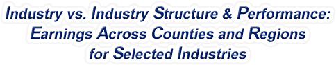 New Hampshire - Industry vs. Industry Structure & Performance: Employment Across Counties and Regions for Selected Industries